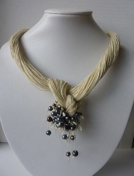 Beautiful and elegant necklace was designed specially for You! :) Natural linen necklace with pearls.   The necklace itself is 48cm long.    Please