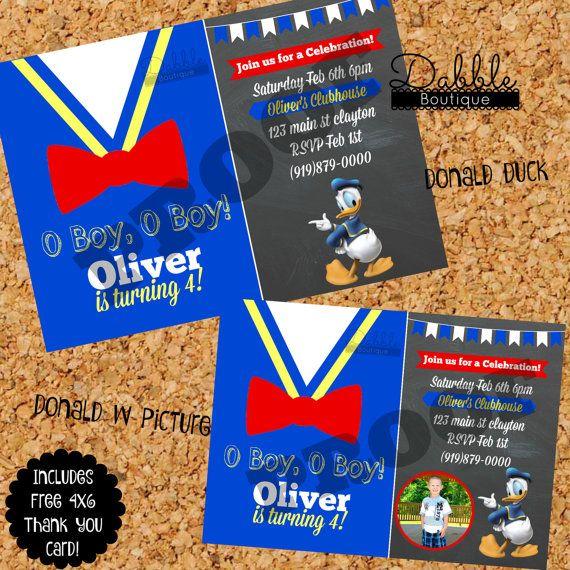 Donald Duck Birthday Invitation/ Donald by TinasDabbleBoutique