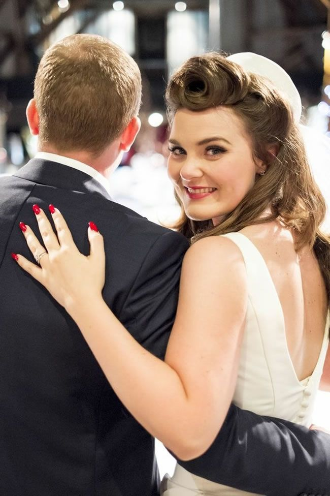 Victory rolls are perfect for a retro wedding! Bridal hair by Vicki Lord