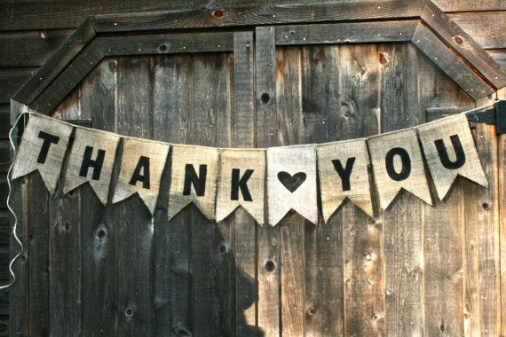 THANK YOU Burlap Banner Sewn onto Jute Twine by NRZimmerLong, $18.00