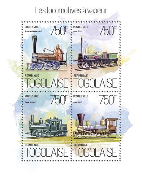 TG 13820 a – Steam locomotives, (Govan and Marx 4-4-0, Alder 2-2-2, Rairlie 0-4-4-0, Atlas 0-8-0).