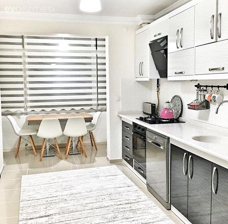 Mutfak, Halı, Mutfak masası, Gri, Modern mutfak