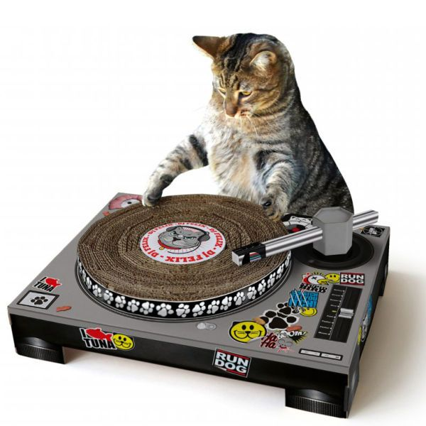Cat Scratching DJ Deck. If I had a cat, I would also own this.