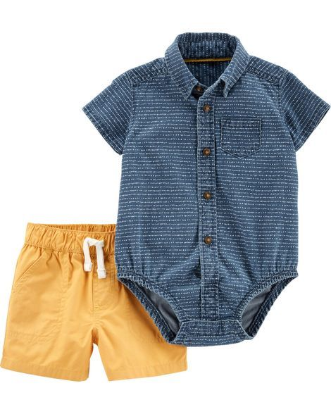 2-Piece Denim Button-Front Bodysuit & Poplin Short Set 2