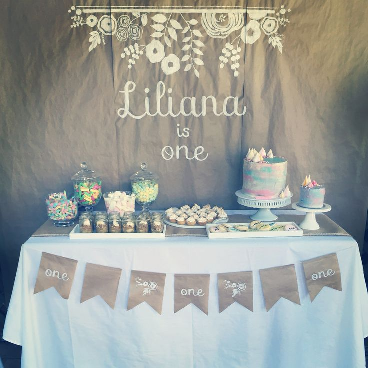 Dessert table for lilianas first birthday. #desserttable #candybuffet