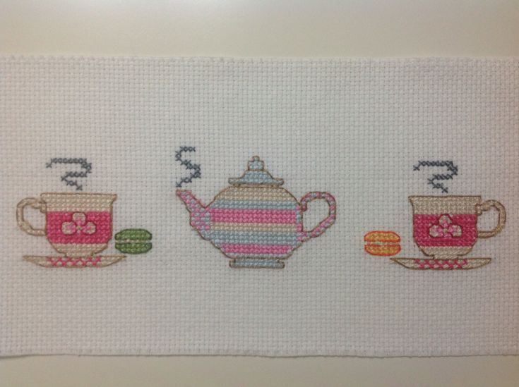#cross stitch #little towel Tea time...