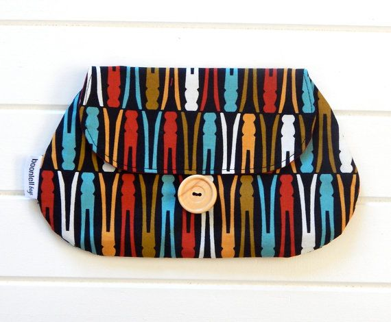 Clutch Purse Pouch Make up Case in Retro Fabric with Coloured Pegs Handmade