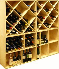 Casiers pour bouteilles, casier vin, cave à vin, rangement du vin, aménagement cave, casier bois, meuble en bois.  Référence : Raut. Combinaison de 4 meubles en bois (2 versions droites et 2 versions biais).