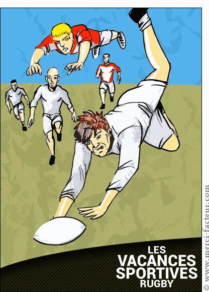 Carte Vacances sportives rugby pour envoyer par La Poste, sur Merci-Facteur !