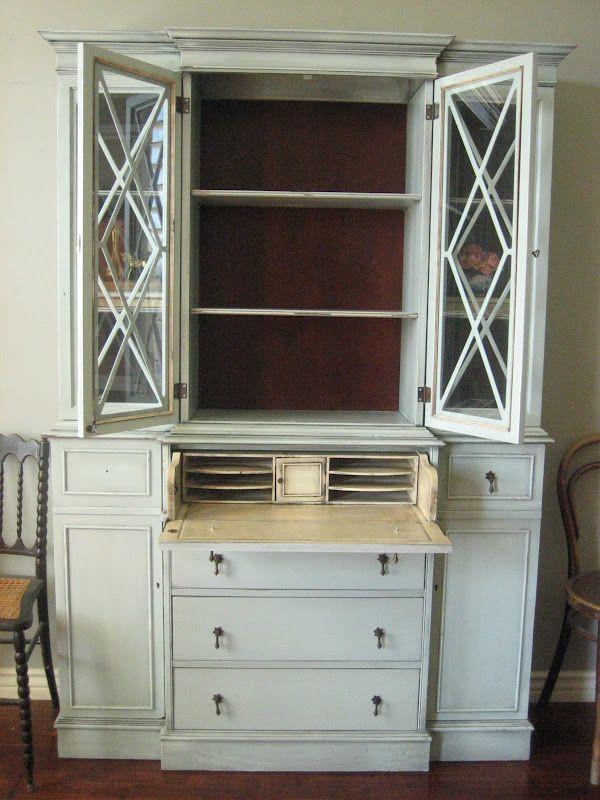 Painted Secretary Desk With Hutch European Paint