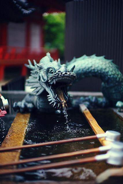 Japanese water fountain 清水寺の龍吐水 Ryutosui in Kiyomizu-dera Temple, Kyoto, Japan. This is a water dragon like the dragon we had in the year 2012.