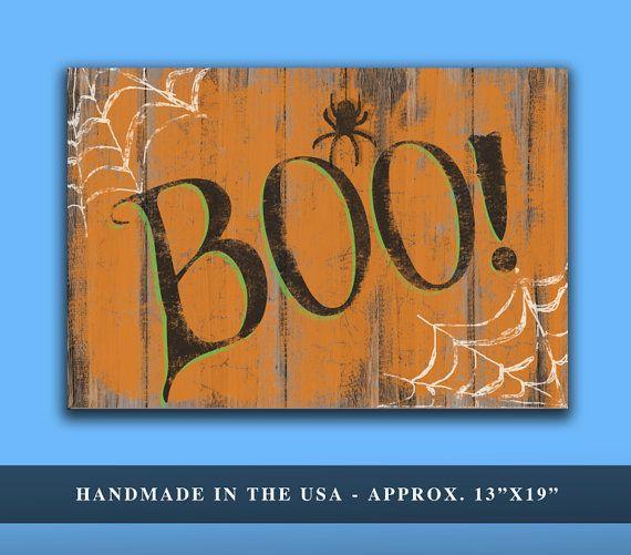 "Halloween ""BOO!"" Sign.  Handmade wooden plaque.   Approx. 13""x19""x1"""