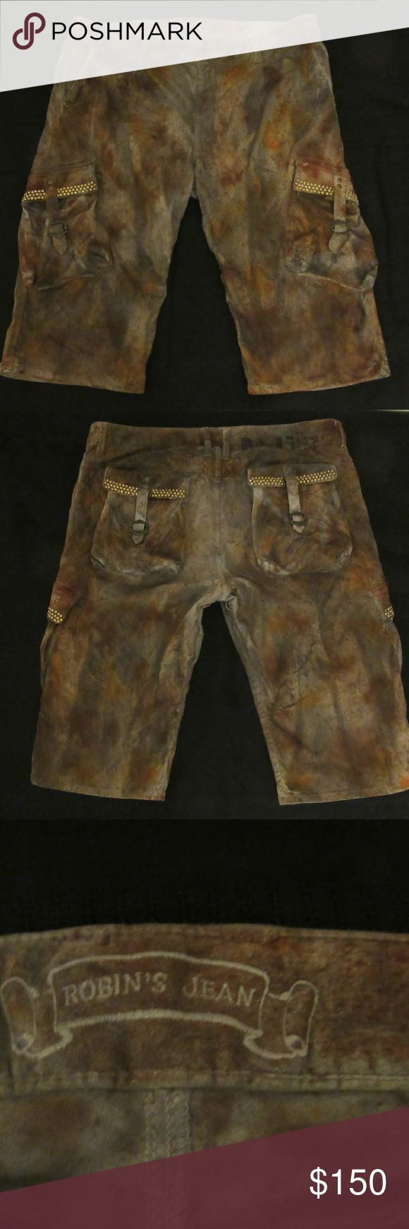 mens robins jeans predator acid wash shorts sz 40 excellent shape ?gently used  tag says 38 but measures to 40?  16inches length  mens robins jeans predator acid wash shorts?  ? Shorts Cargo