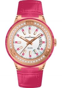 JACQUES LEMANS Miami Crystals Rose Gold Pink Leather Strap 1-1776G - http://rologia.org/jacques-lemans-miami-crystals-rose-gold-pink-leather-strap-1-1776g/