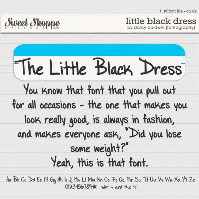 DJB Fonts: The Little Black Dress by Darcy Baldwin {fontography - free