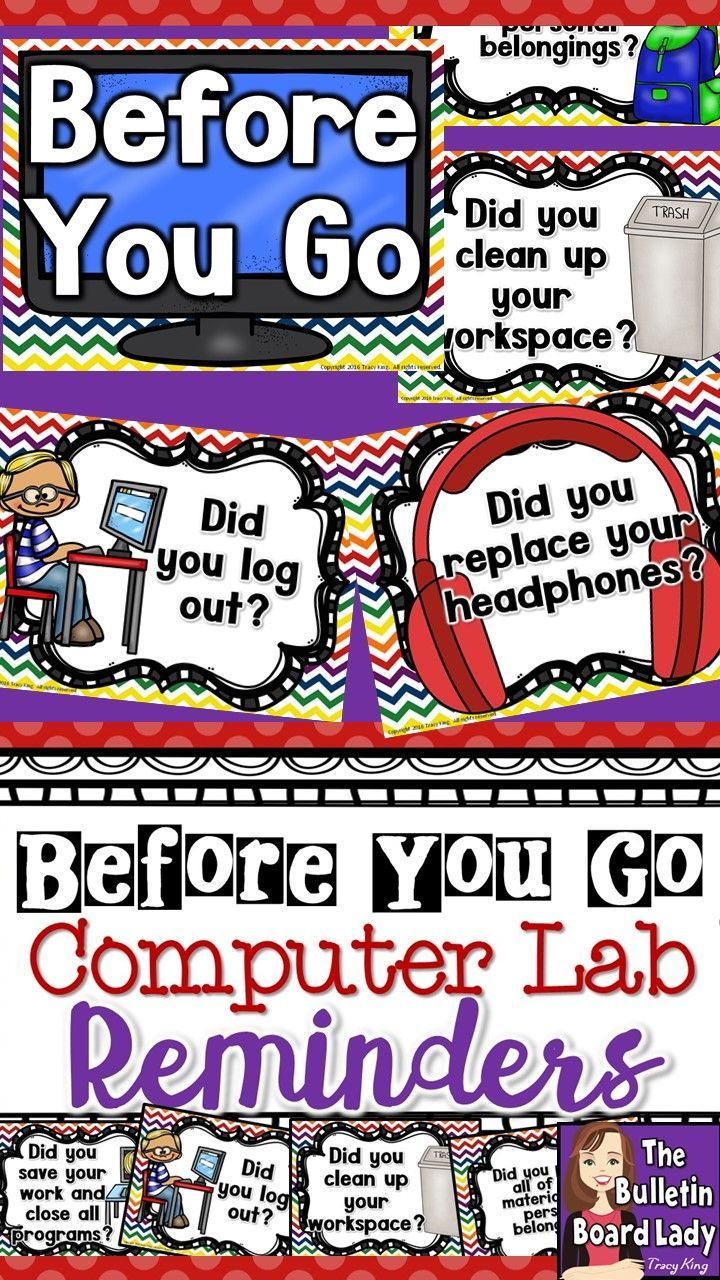 Computer Lab Reminders – Before You Go  I love to have reminders on the door…                                                                                                                                                     More