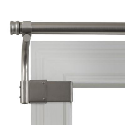 Adjustable Gripper Brushed Nickel Window Curtain Rods