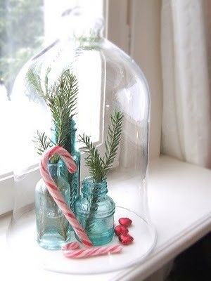 Holiday cloche with old bottles, sprigs and candy