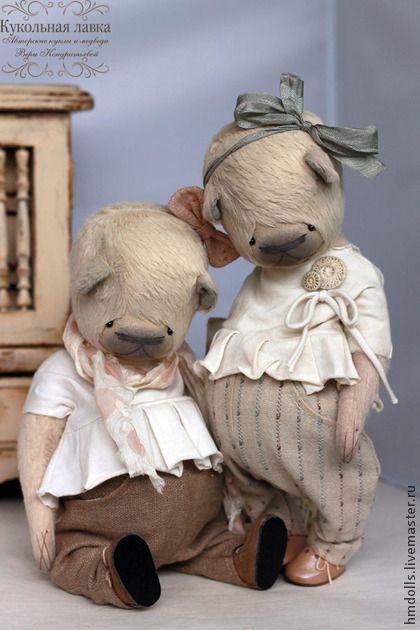 Маша и Даша - бежевый,сливочный,розовый,серый,мишка,мишки тедди,мишка тедди