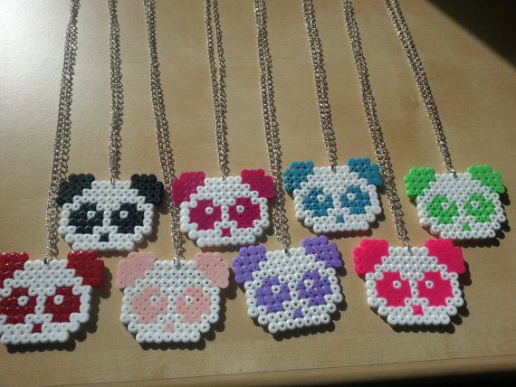 Panda Necklaces midi hama beads