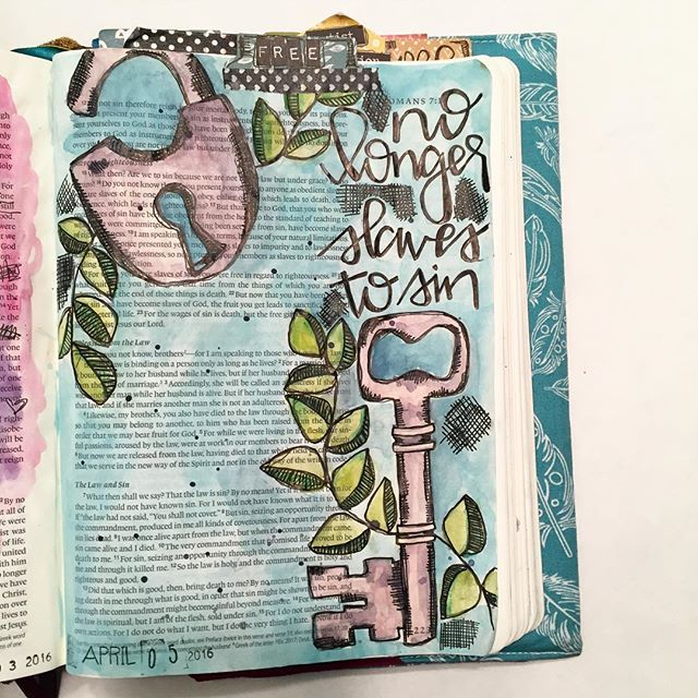 Bible Journaling by Stephanie Middaugh @stephmiddaugh | Romans 6:6-7