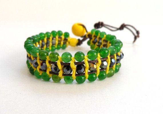 Single Wrap Beaded Bracelet in Yellow Green Boho Chic by byshushu, $30.00