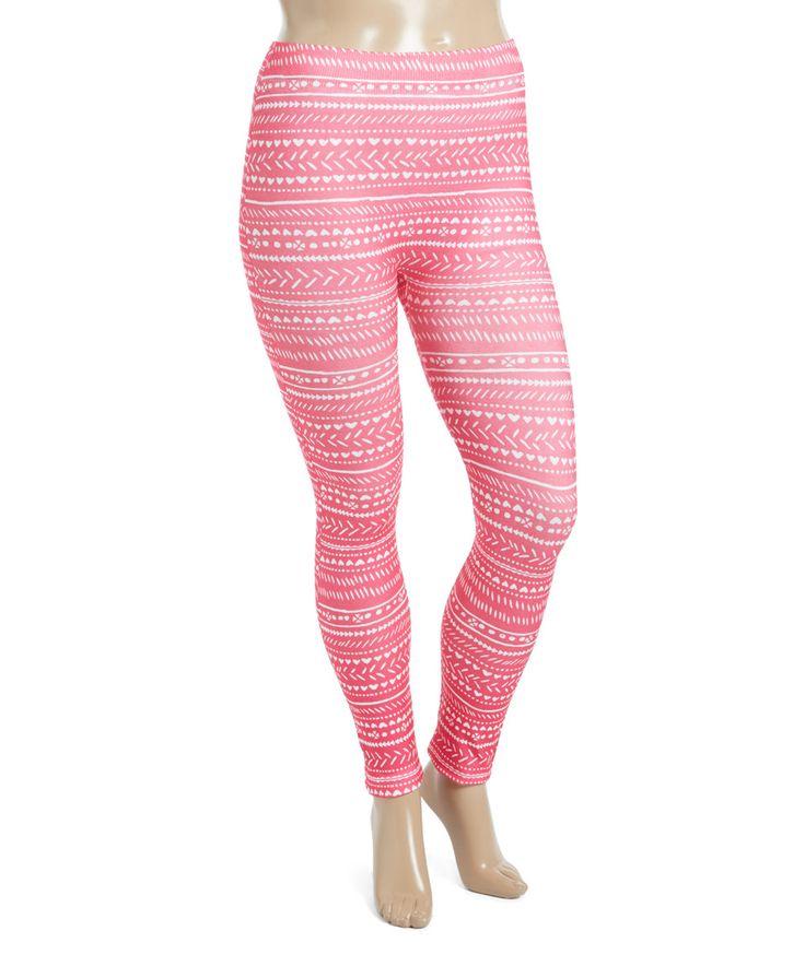 Take a look at this Crush Fuchsia Geometric-Stripe Seamless Leggings - Plus today!
