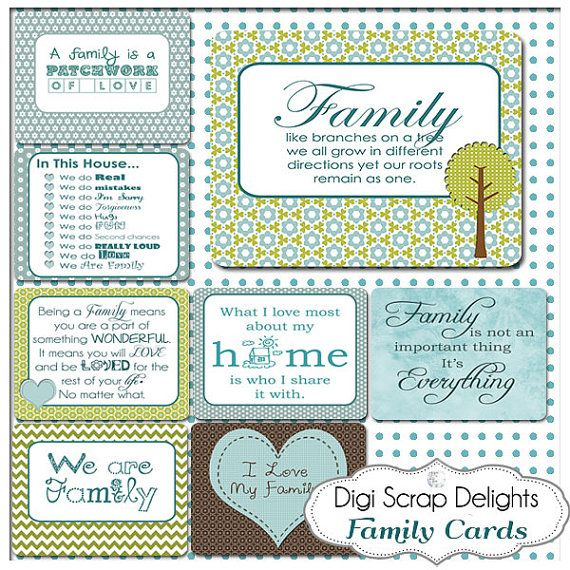 Family Pocket Cards 3x4 Project Life Style by DigiScrapDelights Becky Higgins inspired Pocket Cards #blue #green