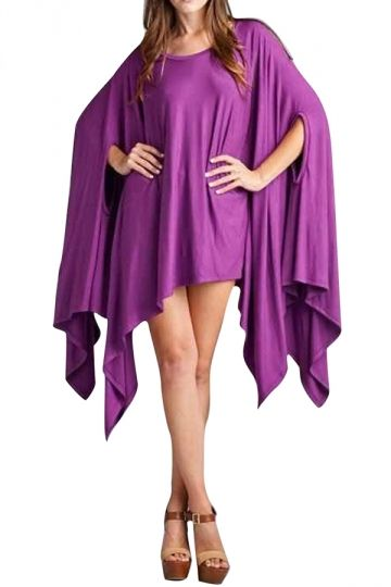 #Womens #Loose #Irregular #Cape #Batwing #Sleeve #T-shirt #Purple