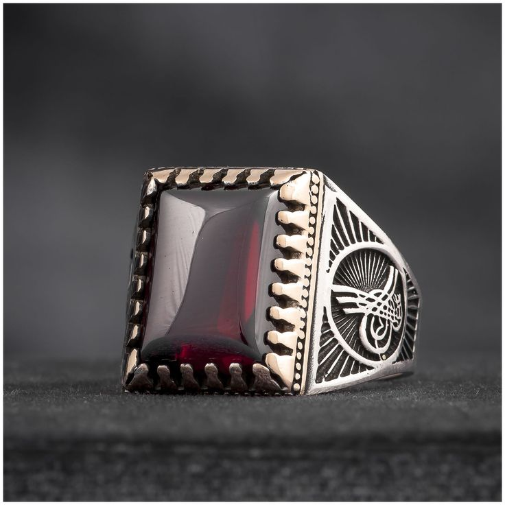 Turkish Mens Ring Ottoman Tughra Red Quartz 925 Sterling Silver - J096