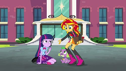 Twilight Sparkle, Spike and Sunset Shimmer in My Little Pony Equestria Girls Rainbow Rocks.