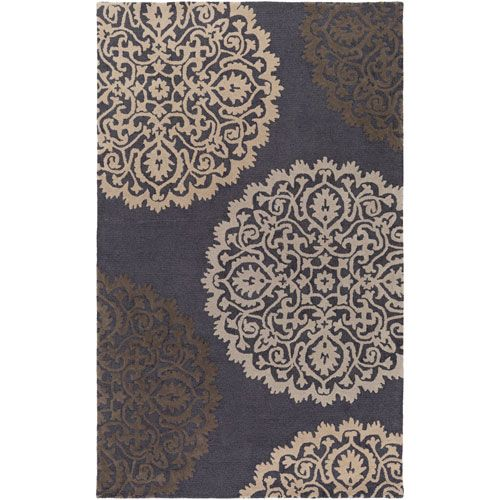 Venus Brooklyn Dark Gray and Brown Rectangular: 4 Ft. x 6 Ft. Area Rug