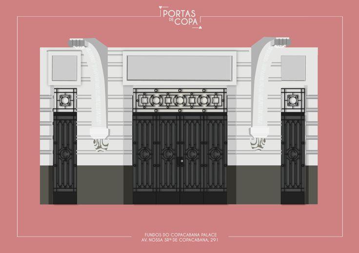 Um dos edifícios mais icônicos de Copacabana não poderia faltar no nosso projeto. Mas, como a porta da frente é de vidro, sem nenhum charme aparente, tivemos que entrar pelos fundos. Taí a porta do Copacabana Palace pela fachada da Nossa Senhora de Copacabana.