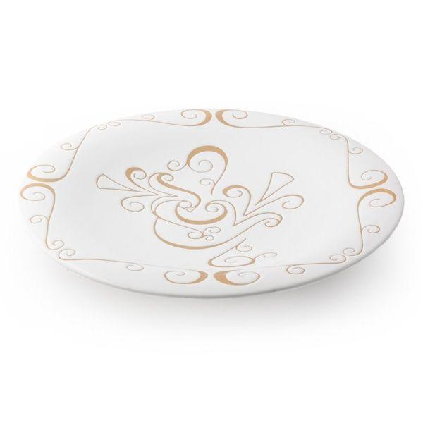 Piatto tondo in ceramica sarda. Decorato con la Pavoncella tradizionale della Sardegna. Artigianato sardo, home decor. Kernos ceramiche.