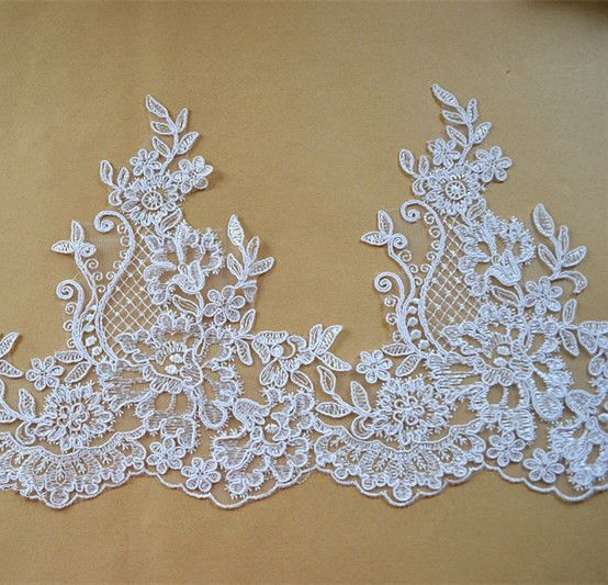 Embroidered Corded Wedding Dress Edging Ivory Floral Bridal Lace DIY Trim Ribbon