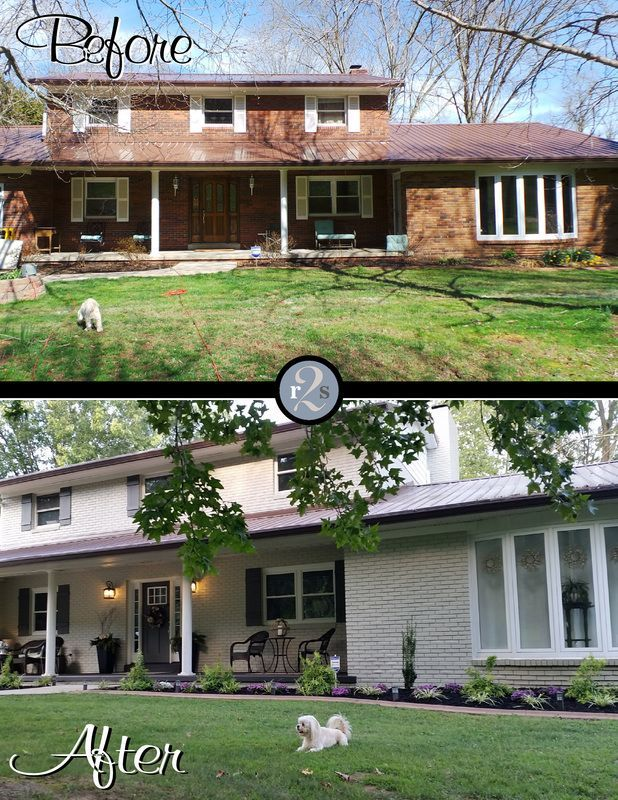 Before and After photo of painted brick house. Paint color is Jogging Path by Sherwin Williams. Check out my YouTube video of the whole house remodel too!   HTTPS://YouTube.be/GmlhMVtPLrc