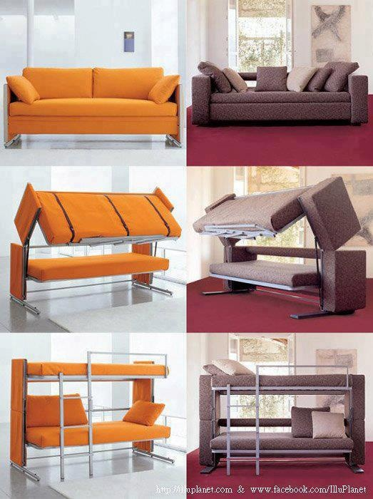 Genius.Guest Room, Ideas, Couch, Spaces Saving, Bunk Beds, Sofas Beds, House, Small Spaces, Bunkbeds