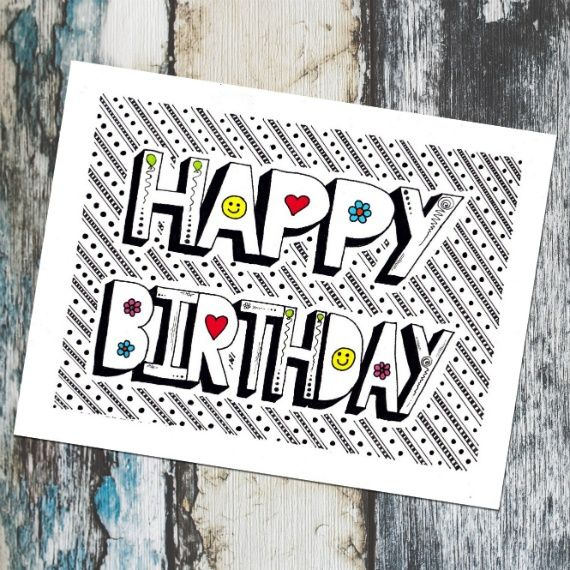 Funky Happy Birthday Card Featuring Print Of Hand Drawn Doodle Design Conscious Crafties Birthday Card Drawing Happy Birthday Drawings Happy Birthday Doodles