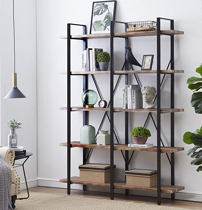 Double Wide 5 Tier Open Bookcases Furniture Vintage Industrial Etagere Bookshelf Large Book Shelve Metal Bookshelf Metal Bookcase Industrial Design Furniture