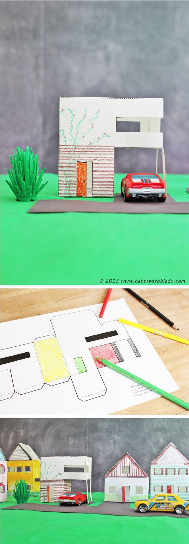 Free printable paper houses that kids can cut and color in. Fun activity to build a village!