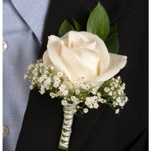 FiftyFlowers.com - Classic Rose Ivory Boutonniere and Corsage Wedding Package