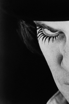 A peek of Alex DeLarge's signature top-and-bottom false eyelashes from A Clockwork Orange.