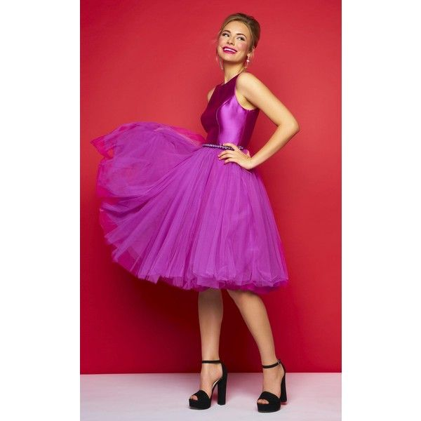 Mac Duggal 30320C Wedding Guest Dress Knee Length High Neckline... ($298) ❤ liked on Polyvore featuring dresses, formal dresses, magenta, magenta dress, knee length formal dresses, high neck formal dresses, purple formal dresses and formal cocktail dresses