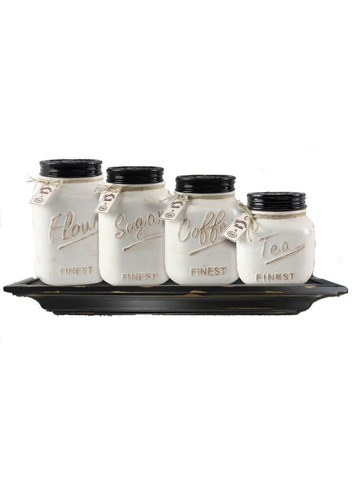 Ceramic mason jar canister set set of 4 for Kitchen jar decoration