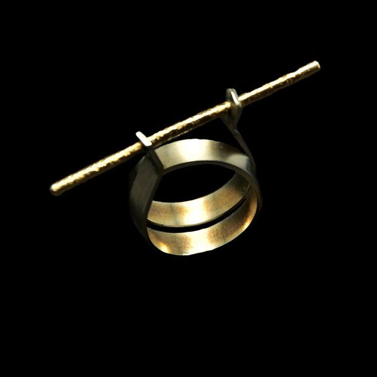 Χειροποίητο δαχτυλίδι με αλπακά και ορείχαλκο