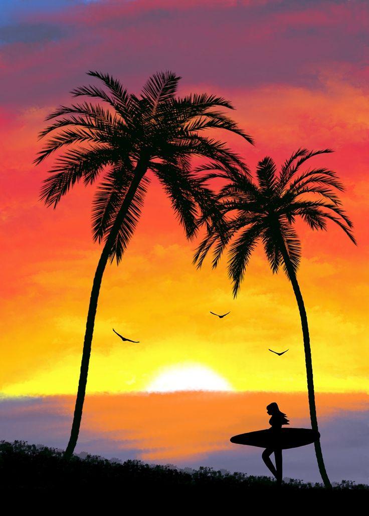 Girl Surfer Metal Art Print on Displate.com   surf sunset palm trees birds woman surfing ocean sea vacation travel print art metal nature silhouette calm relax relaxing sun sky art artist support displate society6