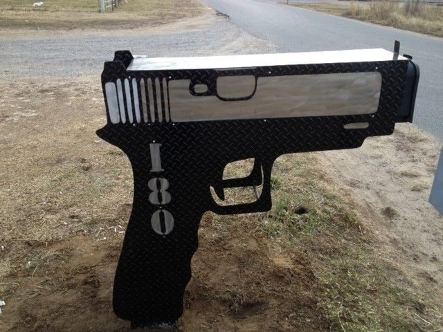 Glock Gun Mailbox Cool Mailbox Custom Security System Protection Signs Beware