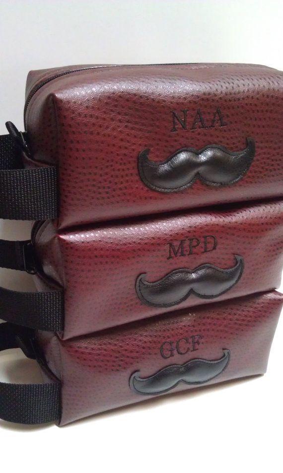 Handmade Personalized Burgundy Mustache Toiletry Bag Gift for Groomsman Groomsmen Gift Groom Bestman Ushers Wedding