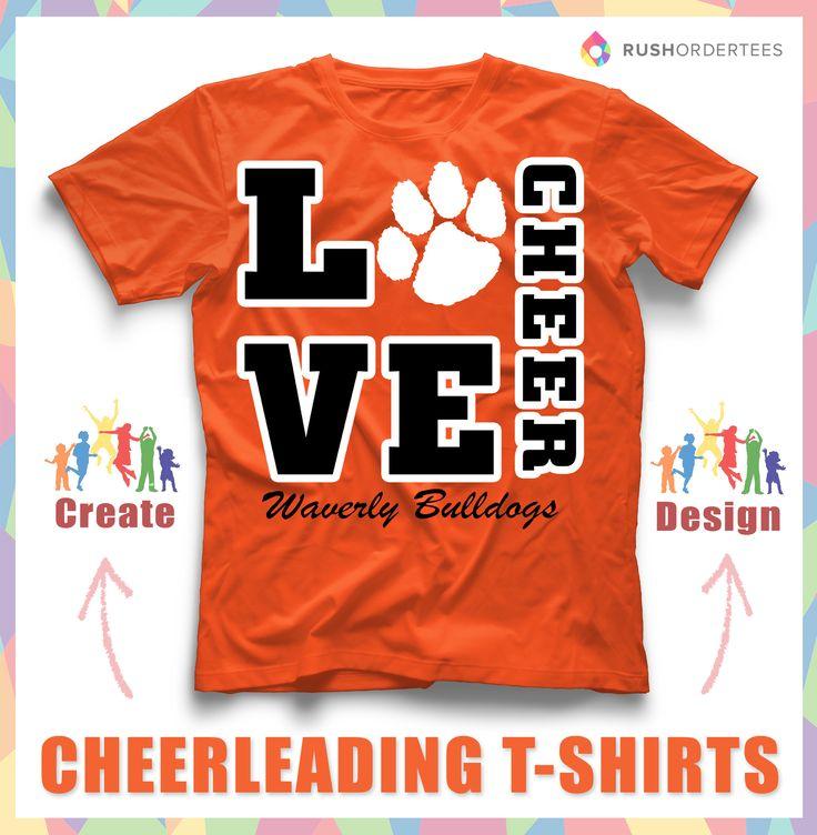 Love to Cheer! Create custom cheerleading t-shirts for your school! www.rushordertees.com #CheerleadingShirts