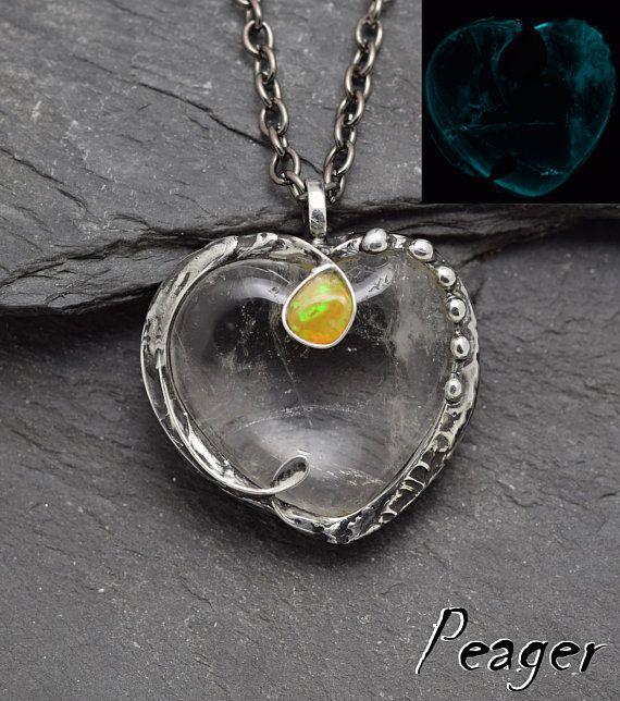 Glow in the dark pendantQuartz necklaceQuartz pendantHeart